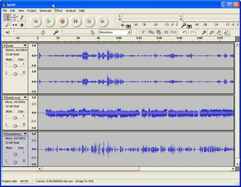 Audacity's Project Window after importing Tracks