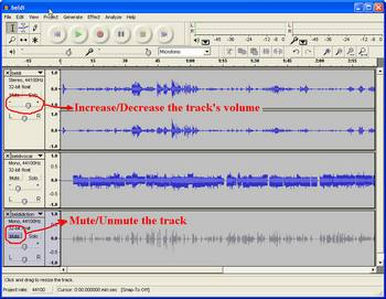 Mute/Unmute Tracks - Increase/Decrease Volume using Audacity
